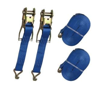 2 x 50mm x 25 metre RATCHET LASHING STRAPS MBL 5T tie down claw hook trailer